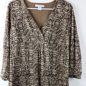 Women's Snake Print Long Sleeve Blouse, XL